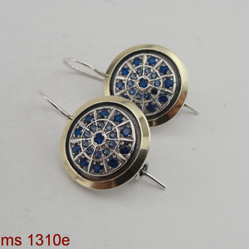 Round Earrings, 925 Sterling Silver and 9k Yellow Gold, Blue Topaz Earrings, Hadas Jewelry, Handcrafted, Israeli Jewelry, Gemstone, Gift (ms 1310e)