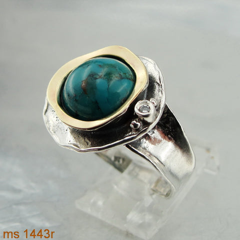 New Ring with Turquoise & Zircon CZ, 925 Sterling Silver 9k Yellow Gold Ring, Round Ring, Israeli Jewelry, Gift for Her, Gemstone Jewelry (ms 1312r)