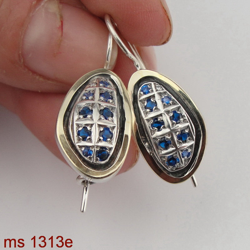 Oval Earrings, 925 Sterling Silver and 9k Yellow Gold, Blue Topaz Earrings, Hadas Jewelry, Handcrafted, Israeli Jewelry, Gemstone, Gift (ms 1313e)