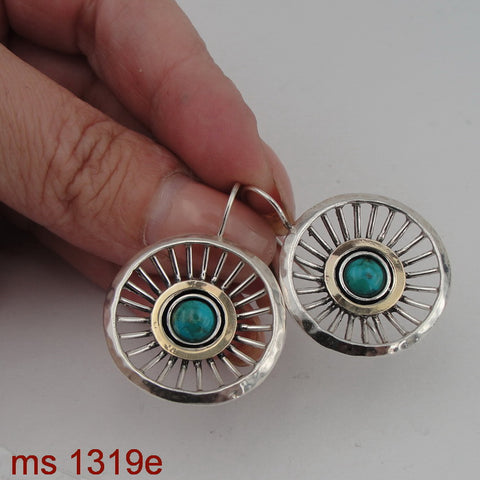 Interesting Earrings with Turquoise, Israeli Jewelry, 925 Sterling Silver 9K Yellow Gold, Handmade, Silver Earrings, Gift for Her, Gemstone Jewelry (ms 1319e)