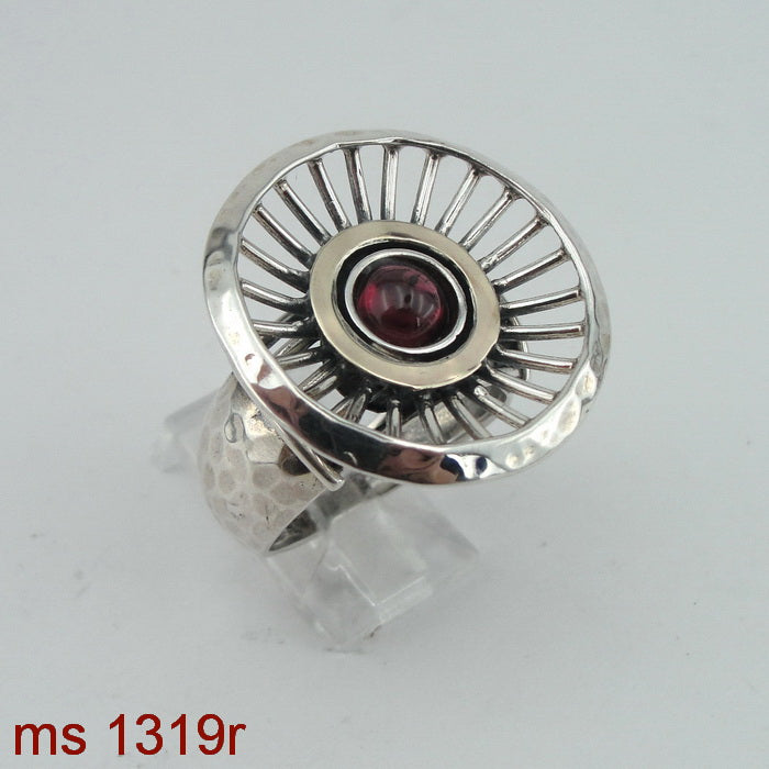 Ring with Garnet Stone, 9k Yellow Gold, Silver & Gold Ring, 925 Sterling Silver, Gemstone Ring, Handmade, Womans Gift, Israeli Jewelry (ms 1319r)