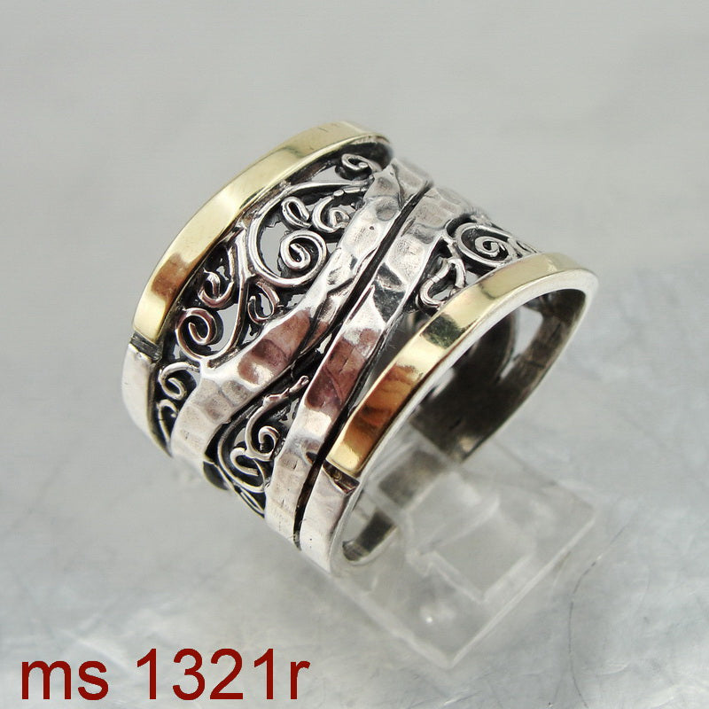 Beautiful Filigree Ring, 925 Sterling Silver & 9k Yellow Gold, Handmade, Israeli Jewelry, Hadas Jewelry, Gift, Silver & Gold Ring, Gemstone (ms 1321r)