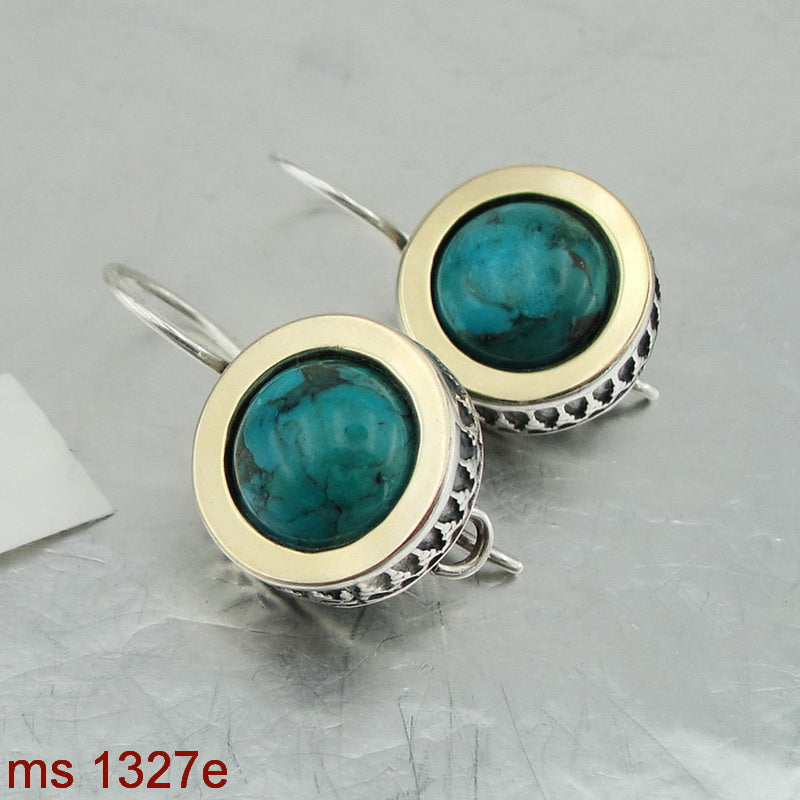 Filigree Earrings with Turquoise, Israeli Jewelry, 925 Sterling Silver 9K Yellow Gold, Handmade, Silver Earrings, Gift for Her, Gemstone Jewelry (ms 1327e)