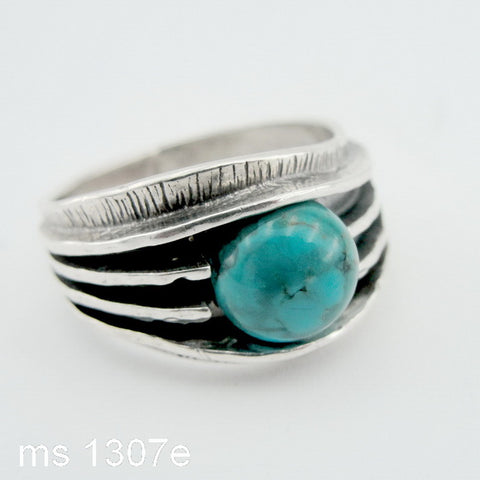 Silver Ring with Round Turquoise, 925 Sterling Silver Ring, Round Ring, Israeli Jewelry, Womans Gift, Gemstone Jewelry (ms 1333r)