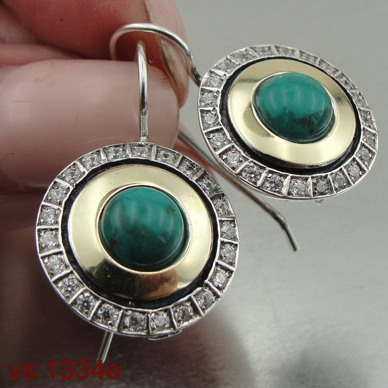Round Earrings with Turquoise & CZ, Israeli Jewelry, 925 Sterling Silver 9K Yellow Gold, Handmade, Silver Zircon Earrings, Gift for Her, Gemstone (ms 1334e)