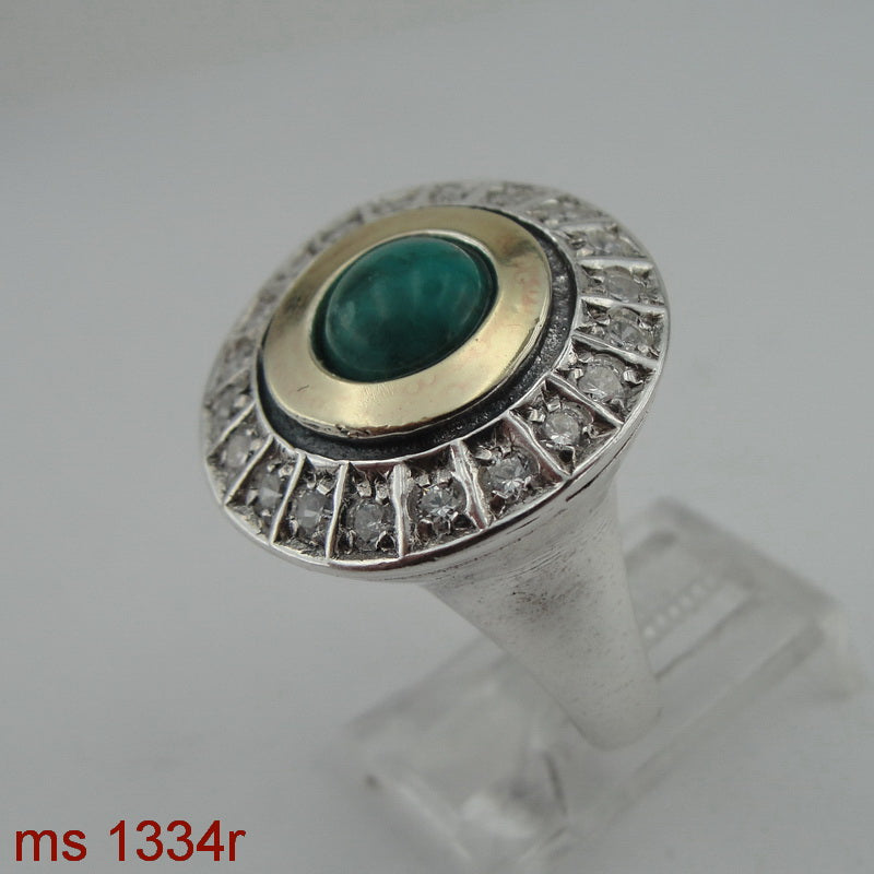 New Ring with Turquoise & Zircon CZ, 925 Sterling Silver 9k Yellow Gold Ring, Round Ring, Israeli Jewelry, Gift for Her, Gemstone Jewelry (ms 1334r)