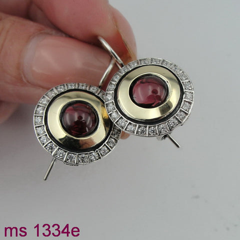 Earrings with Garnet & CZ, 925 Sterling Silver & 9k Yellow Gold, Israeli Jewelry, Handmade, Silver Zircon Earrings, Gift, Gemstone Earrings (ms 1334e)