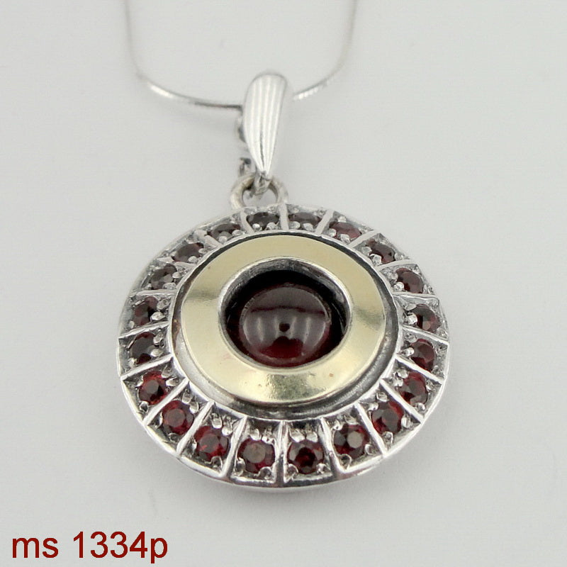 de00db1742 New Round Pendant with Garnet, Israeli Jewelry, 925 Sterling Silver, 9k  Yellow Gold, Handmade, Silver Garnet Pendant, Gift for Her, Gemstone (ms  1334p)