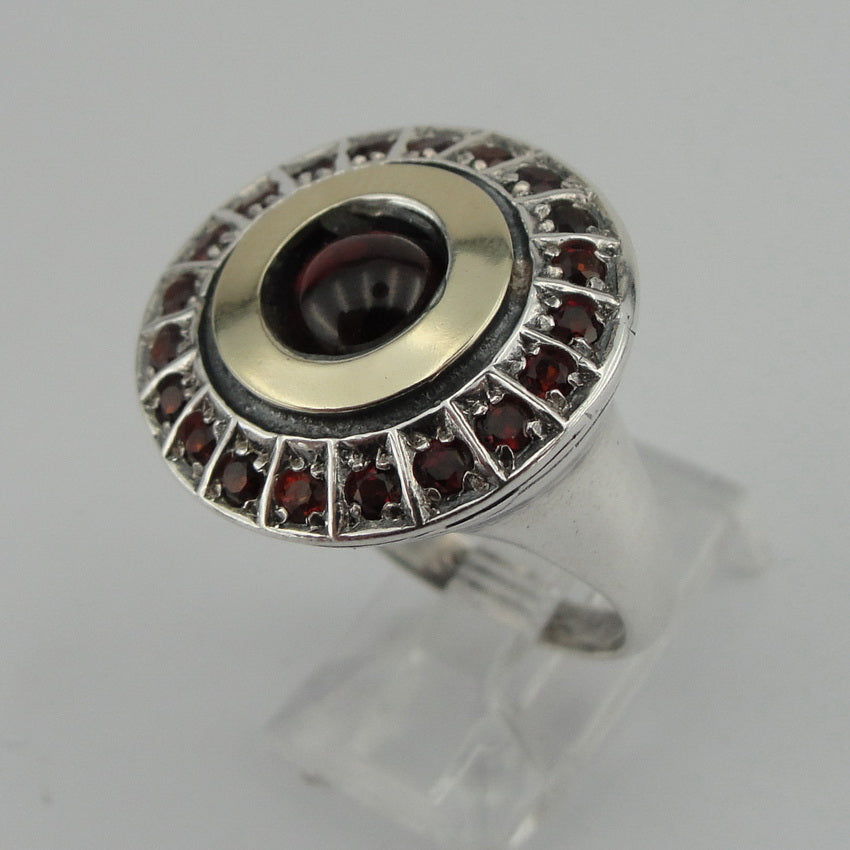 New Ring with Garnet Stone, 9k Yellow Gold, Silver & Gold Ring, 925 Sterling Silver, Gemstone Ring, Handmade, Womans Gift, Israeli Jewelry (ms 1334r)