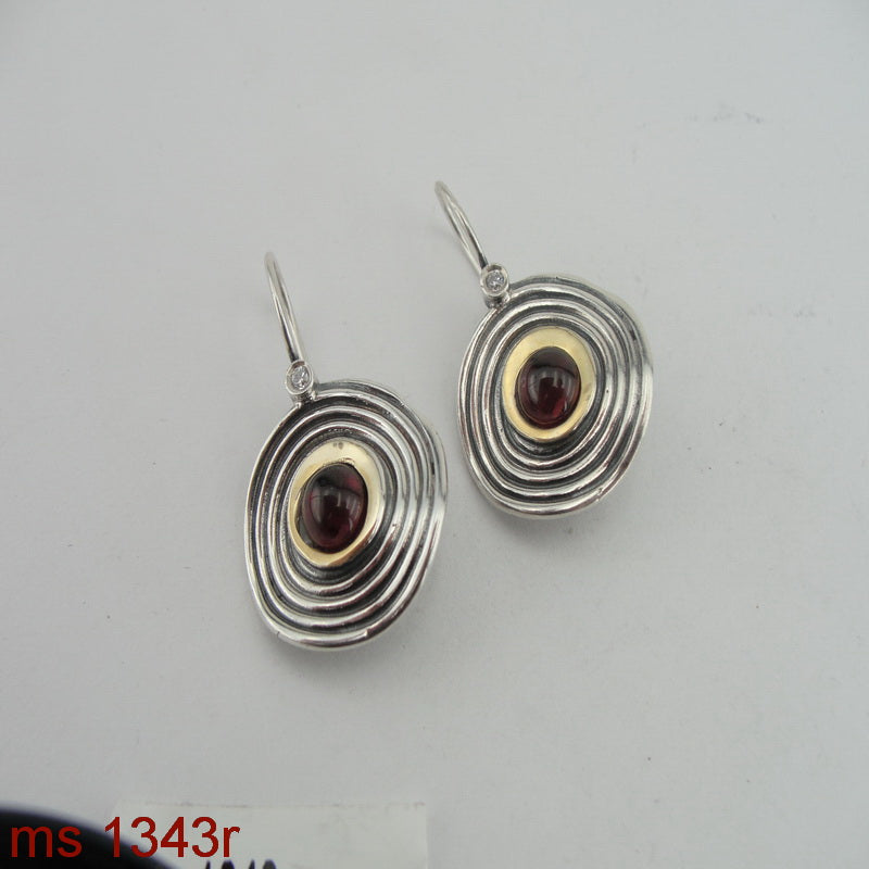 Amazing Earrings with Garnet, 925 Sterling Silver & 9k Yellow Gold, Israeli Jewelry, Handmade, Silver Earrings, Gift, Gemstone Earrings (ms 1343e)