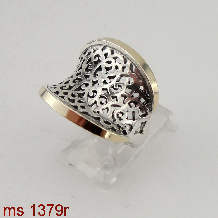 Filigree Ring, 925 Sterling Silver & 9k Yellow Gold, Handmade, Israeli Jewelry, Hadas Jewelry, Gift for Her, Silver and Gold Ring (ms 1379r)