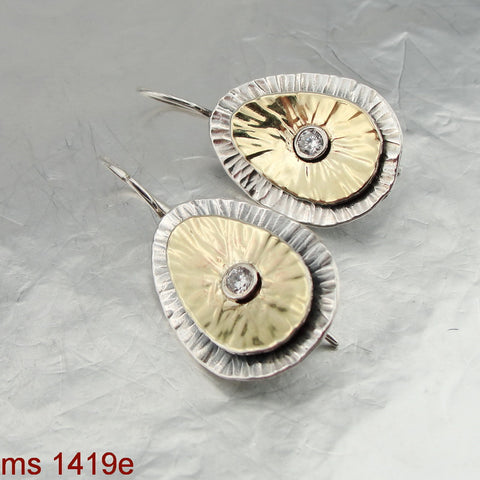 Huge Oval Zircon Earrings, Israeli Jewelry, 925 Sterling Silver & 9K Yellow Gold, Handmade, Silver Earrings, Gift, CZ, Unique Design (ms 1419e)