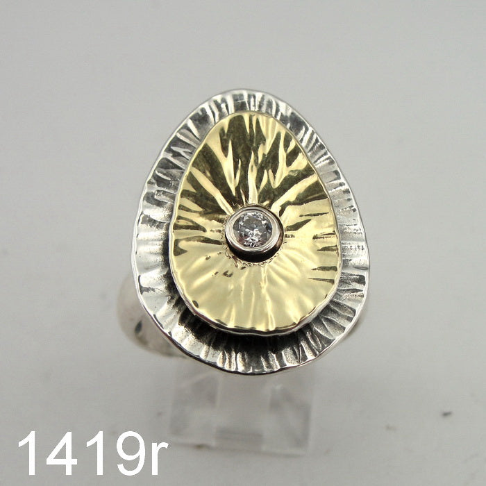 Unique Zircon CZ Ring, 925 Sterling Silver & 9k Yellow Gold, Handmade, Israeli Jewelry, Hadas Jewelry, Gift, Silver Ring, Gemstone (ms 1419r)