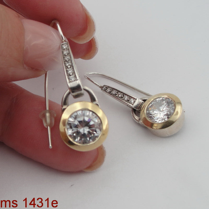 925 Sterling Silver and 9k Yellow Gold, Zircon CZ Silver Earrings, Hadas Jewelry, Handcrafted, Israeli Jewelry, Jewelry with Gemstone, Gift for Woman (ms 1431e