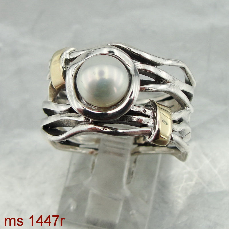 Unique Ring with White Pearl, 925 Sterling Silver & 9k Yellow Gold, Handmade, Israeli Jewelry, Gift, Gemstone (ms 1447r)