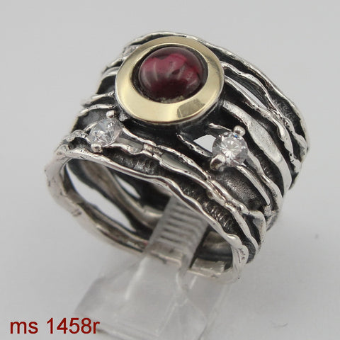 Ring with Garnet & Zircon Stone, 925 Sterling Silver, 9K Yellow Gold, Handmade, Israeli Jewelry, Gemstone Ring, Silver Gold Ring (ms 1458)