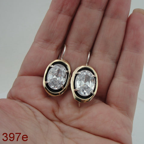 925 Sterling Silver and 9k Yellow Gold, Zircon CZ Silver Earrings, Hadas Jewelry, Handcrafted, Israeli Jewelry, Jewelry with Gemstone, Gift for Woman (ms 397e)