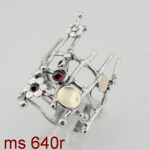 Fine Garnet Ring with Flower, 925 Sterling Silver & 9K Yellow Gold Ring, Red Garnet Ring, Israeli Jewelry, Gift for Her, Gemstone (ms 640r)