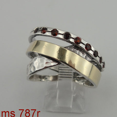 Fine Garnet Ring, 925 Sterling Silver & 9K Yellow Gold Ring, Red Garnet Ring, Israeli Jewelry, Womans Gift, Handmade, Gemstone (ms 787r)