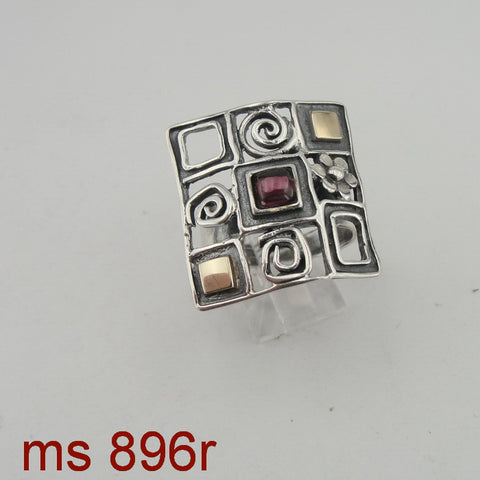 Fine Garnet Ring, 925 Sterling Silver & 9K Yellow Gold Ring, Square Red Garnet Ring, Israeli Jewelry, Flower Ring, Gift, Gemstone (ms 896r)