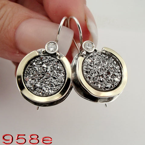 925 Sterling Silver and 9k Yellow Gold, Druz Zircon Earrings, Hadas Jewelry, Handcrafted, Israeli Jewelry, Gemstone Earrings, Gift (ms 958edr)