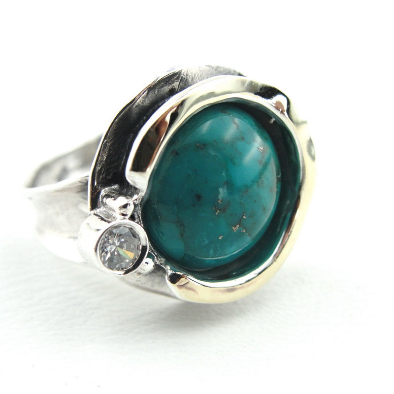 Ring with Turquoise & Zircon CZ, 925 Sterling Silver 9k Yellow Gold Ring, Round Ring, Israeli Jewelry, Gift for Her, Gemstone Jewelry (ms 958r)