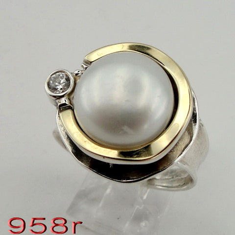 Beautiful Round Ring with Pearl and Zircon CZ, Hadas Jewelry, Handcrafted, 925 Sterling Silver, Gemstone Pearl Ring, 9k Yellow Gold, Gift, Israeli Jewelry (ms 958r)