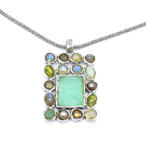 Necklace - Amazing Large Gemstone Necklace Set In Sterling Silver