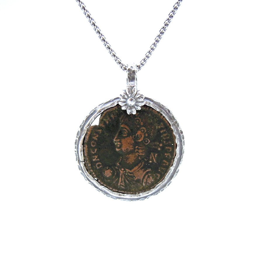 Necklace - Authentic Ancient Late Roman Coin Set In 925 Sterling Silver Pendant