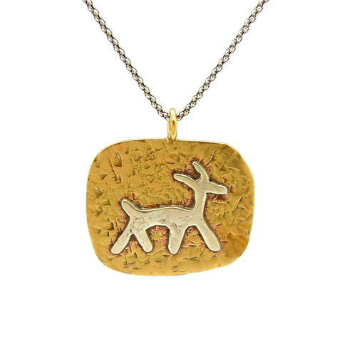 Necklace - Brass Pendant Necklace With A Silver Animal Figure
