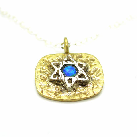 Necklace - Brass Pendant Necklace With Star Of David And Opal