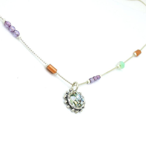 Necklace - Crystal Necklace With A Silver Pendant Set With Roman Glass