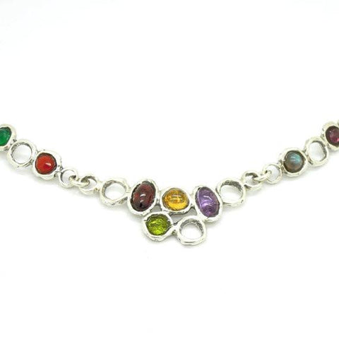 Necklace - Dazzling Gemstone Necklace Set In Sterling Silver