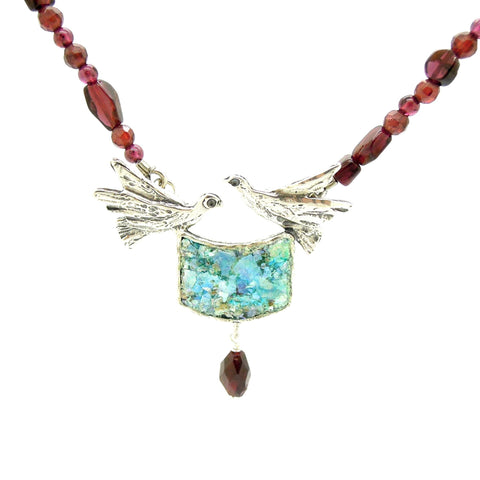 Necklace - Dove Necklace With Garnet Eads And Roman Glass