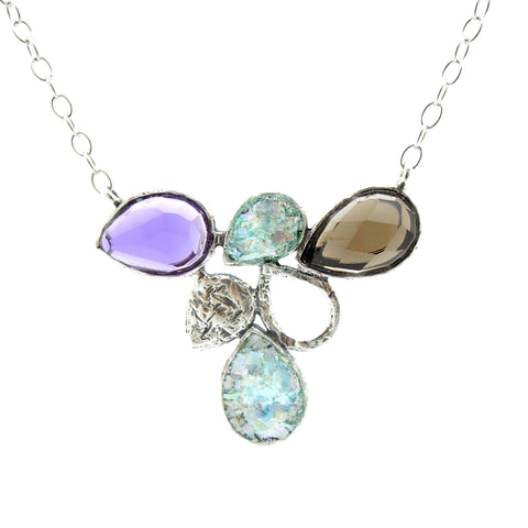 Necklace - Drop Shaped Necklace With Roman Glass, Smokey Quartz And Purple Quartz Set In Silver