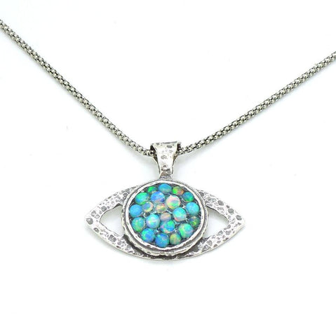 Necklace - Eye Shaped Sterling Silver Pendant With Mosaic Opal