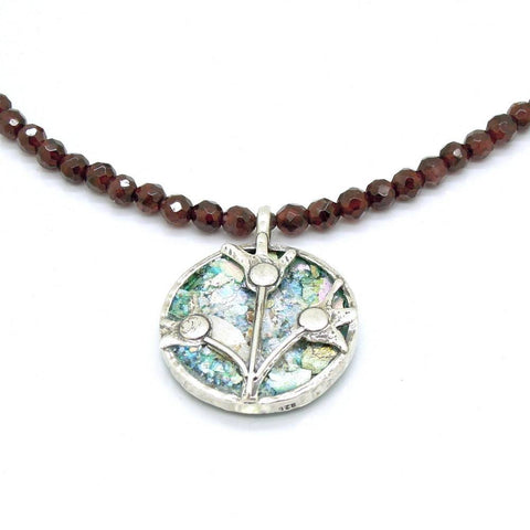 Necklace - Garnet Beads Necklace With Silver Flowers & Roman Glass