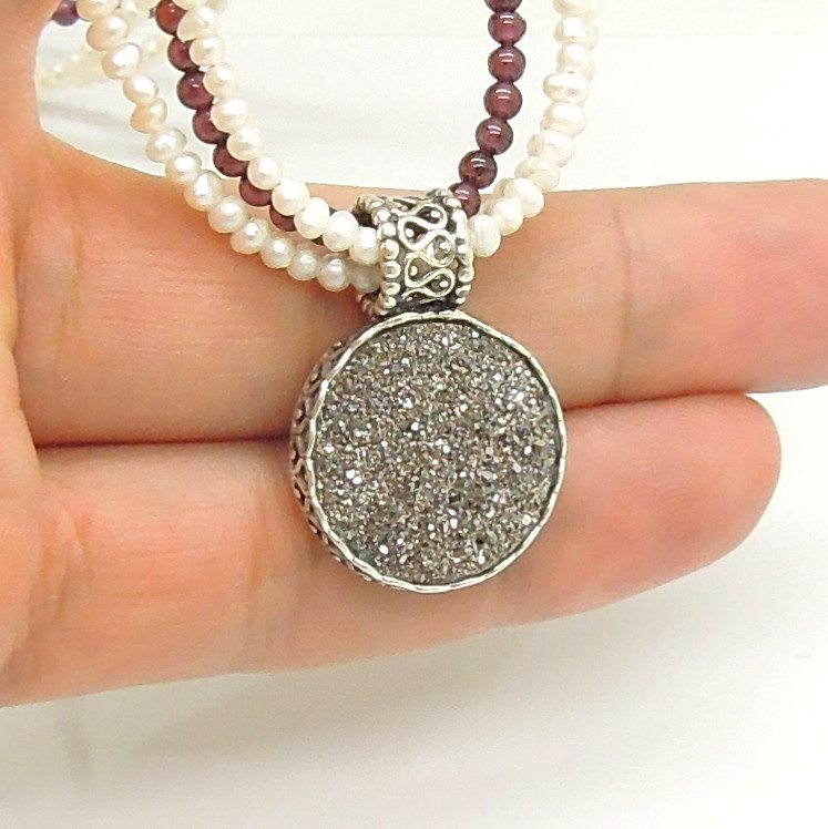 Necklace - Garnet & Pearl Necklace With Platinum Druzy In Silver