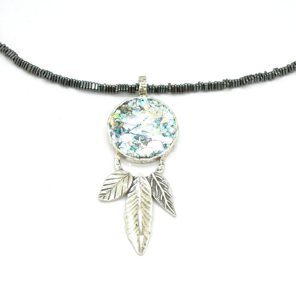 Necklace - Hematite Necklace With Roman Glass & Silver Leaves