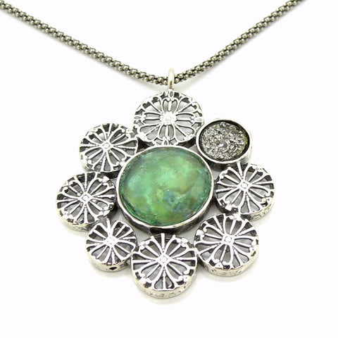 Necklace - Large Pendant Necklace, Flower Shaped With Roman Glass & Agate Platinum