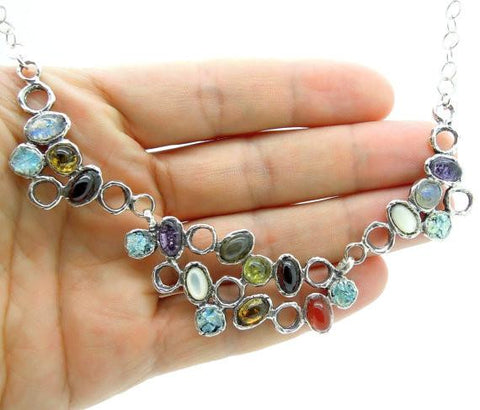 Necklace - Large & Unique Gemstone Necklace With Roman Glass Set In Silver