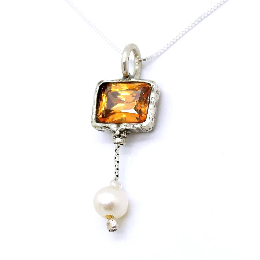 Necklace - Orange Zircon Silver Sterling White Pearl Necklace