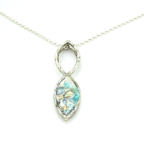 Necklace - Oval Shaped Silver Pendant With Roman Glass