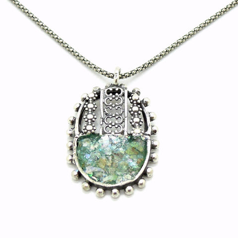Necklace - Oval Silver Pendant Necklace With Sterling Metalwork And Roman Glass