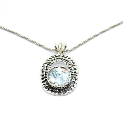 Necklace - Oval Sterling Silver Net Design Pendant With Roman Glass