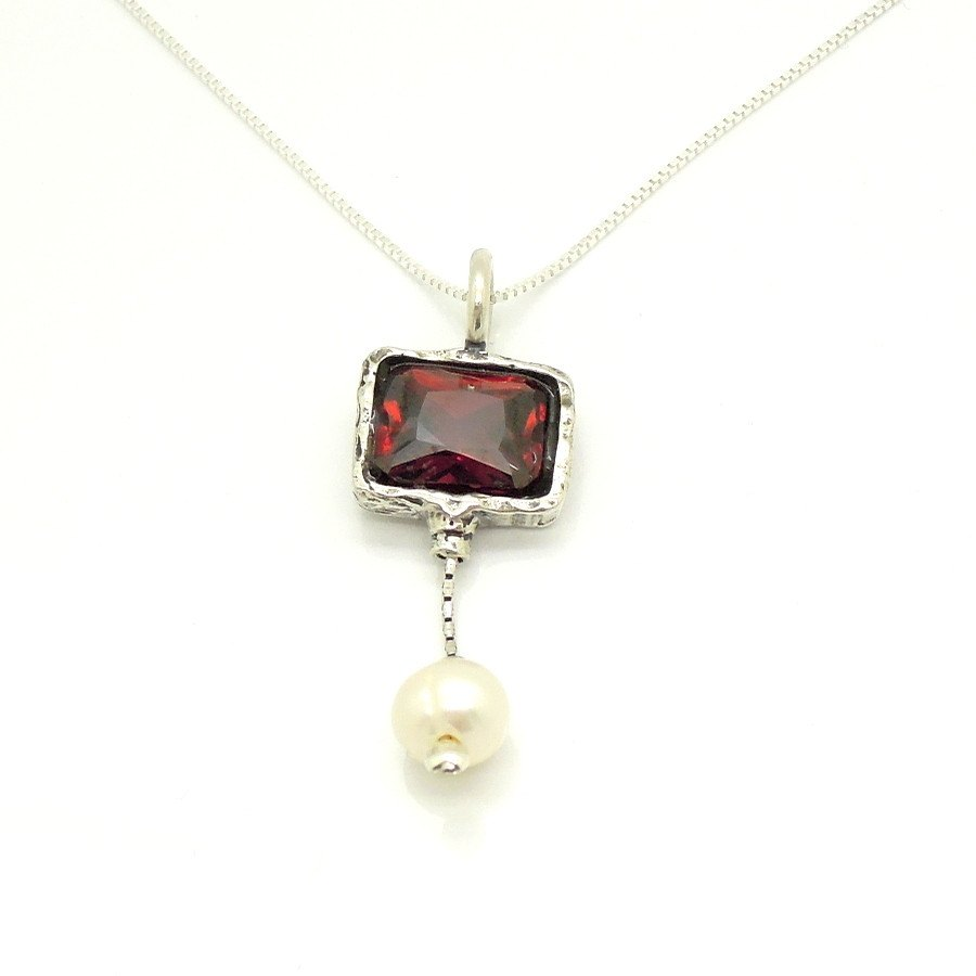Necklace - Red Zircon Silver Sterling Pearl Necklace