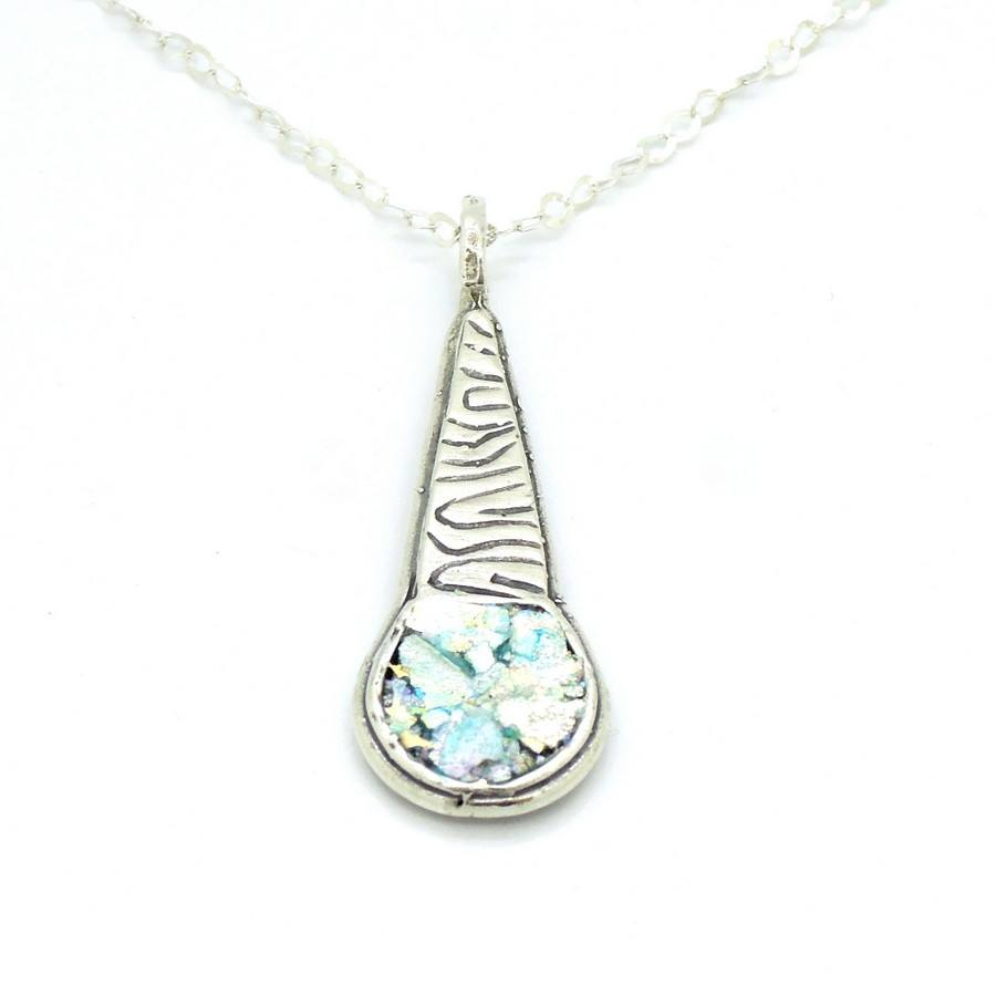 Necklace - Scroll Pattern Sterling Silver Pendant With Roman Glass