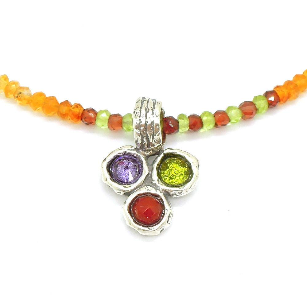 Necklace - Silver Gemstone Bead Necklace With Amethyst, Peridot & Carnelian