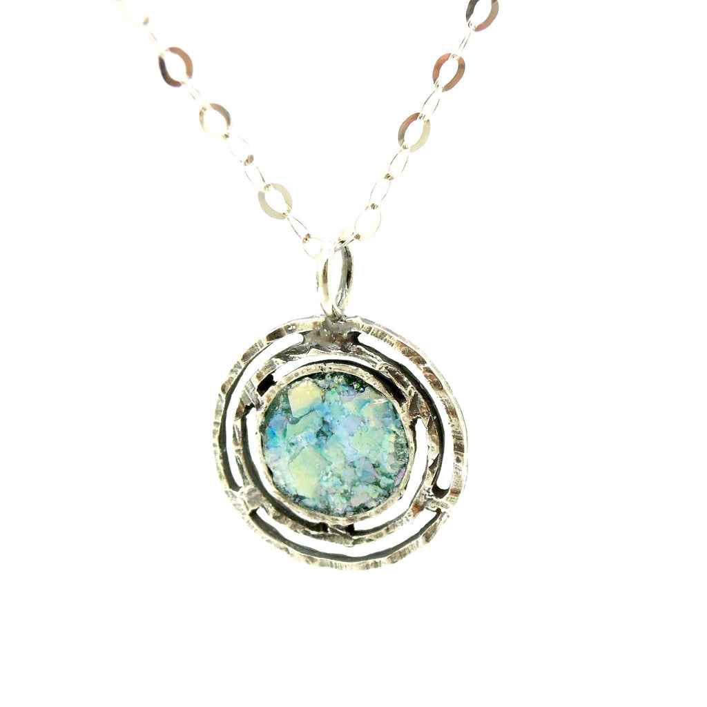 Necklace - Silver Necklace With Ancient Roman Glass, Round & Hammered