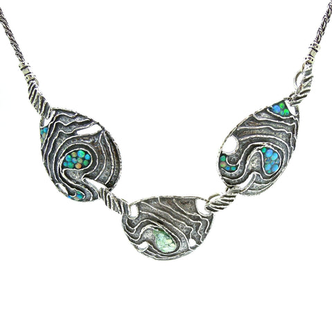 Necklace - Silver Necklace With Mosaic Opal Landscape Design